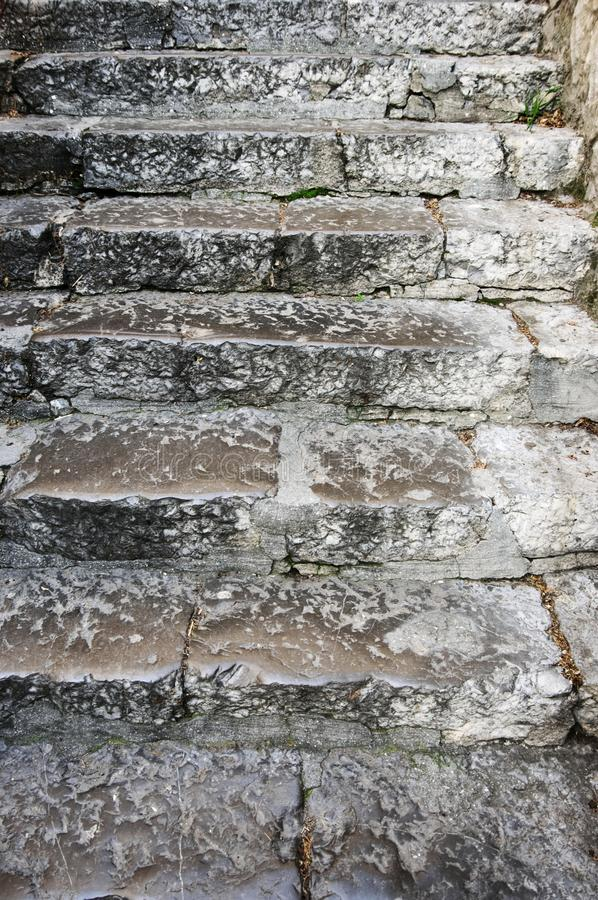 Old rouge stone stairway royalty free stock images