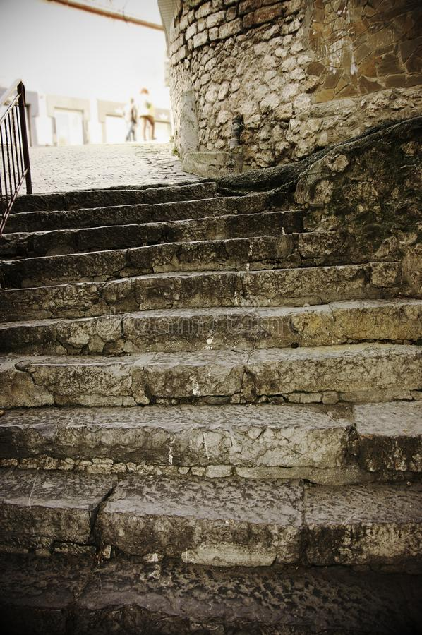 Old rouge stone stairway royalty free stock image