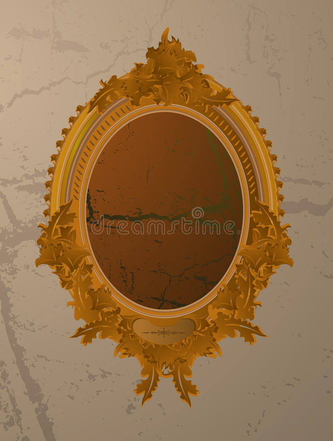 Old round picture frame. royalty free illustration
