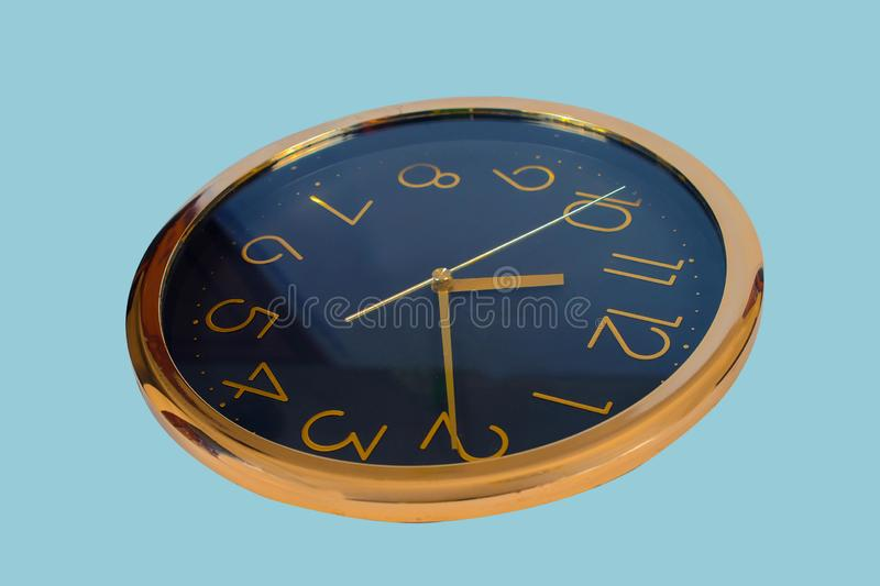 Old round wall clock isolated. On white stock photos