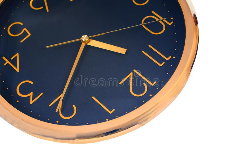 Old round wall clock isolated. On white royalty free stock image