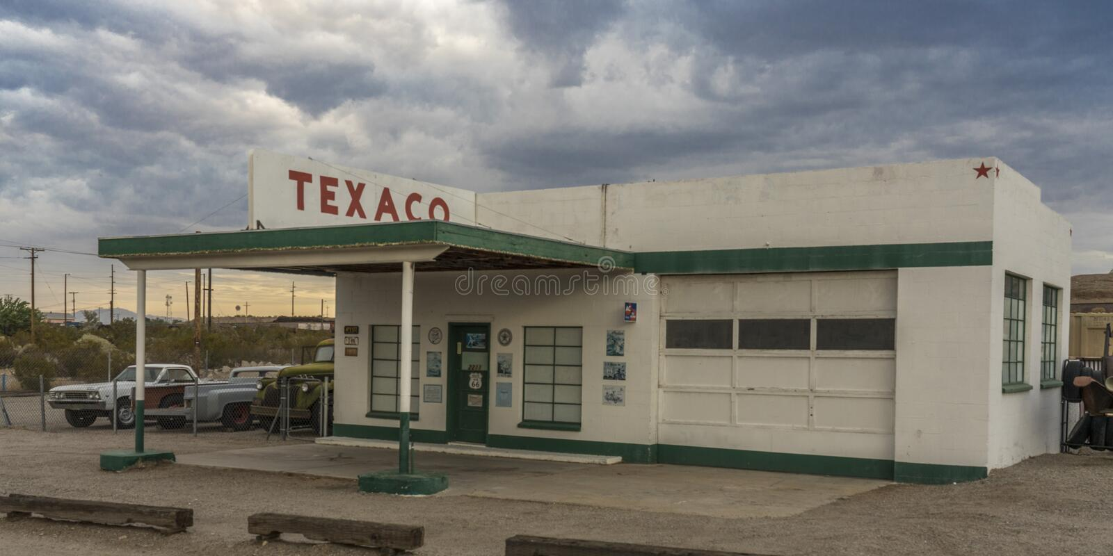 JULY 24, 2019 - OLD ROUTE 66, ARIZONA AND CALIFORNIA , USA - Old Route 66 shows Texaco station and signs along highway in Arizona  stock photo