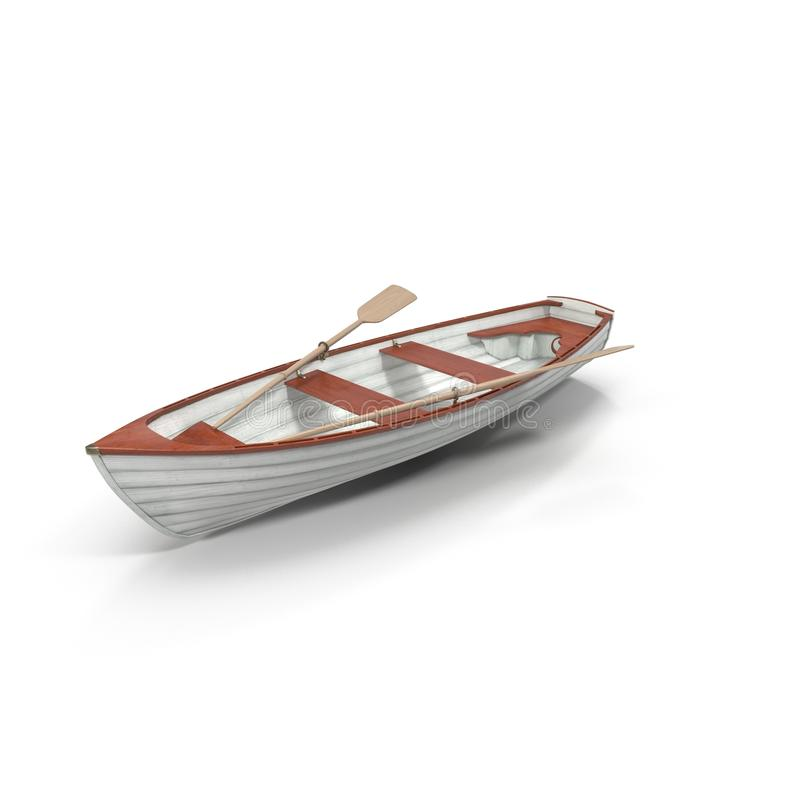 Free Old Row Boat Isolated On White. 3D Illustration Stock Photography - 79213542