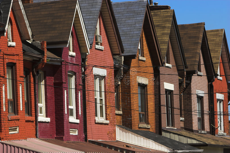 Download Old row houses stock photo. Image of maroon, roof, pink - 2997414