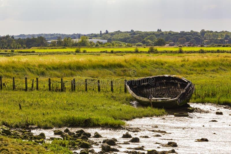 Old rowboat. Faversham, England, United Kingdom stock images