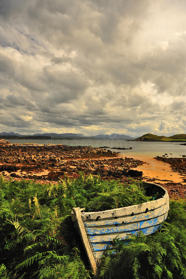 Old rowboat, Scottish highlands. A long redundant, overgrown, old rowboat, on the tidal shore of loch Ewe, on the west coast of the Scottish highlands. A royalty free stock photos