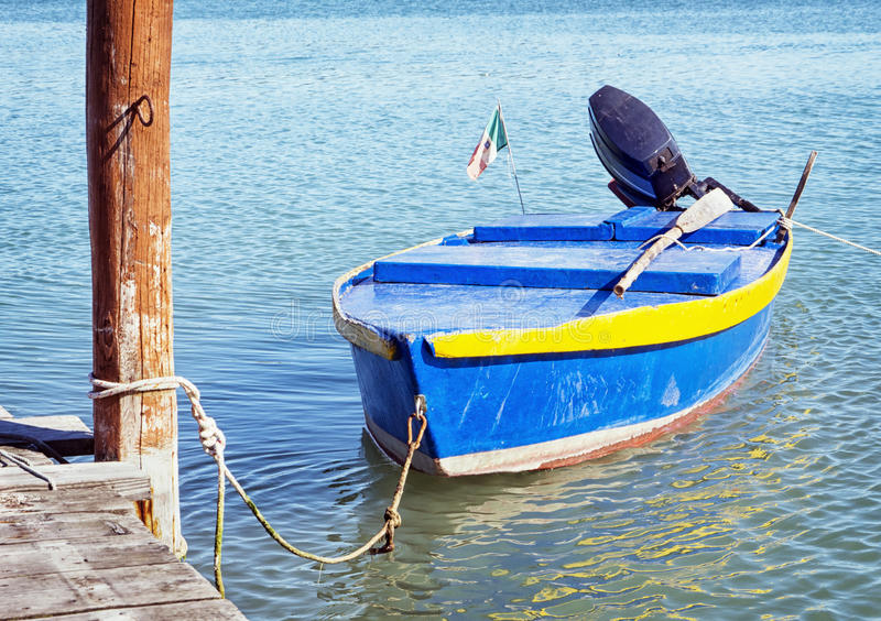 Download Old rowboat stock photo. Image of motor, nobody, blue - 34302942