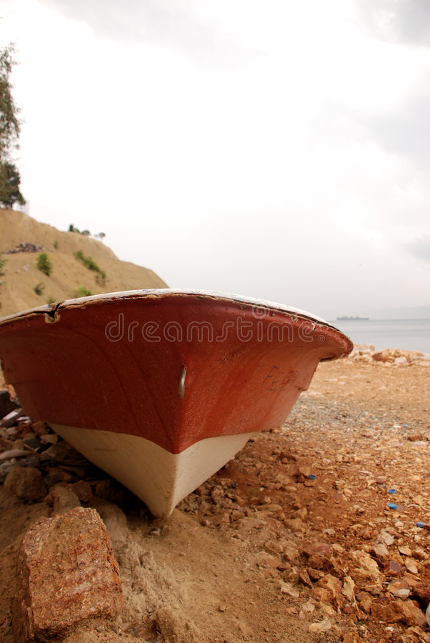 Download Old rowing boat and sea stock photo. Image of peace, beach - 6450202