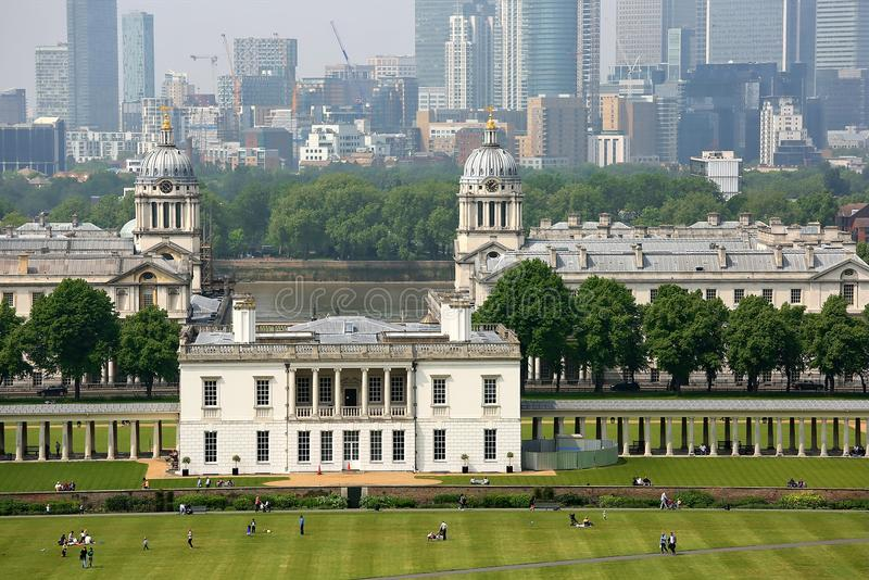 Old Royal Navy College. Aerial view of Old Royal Navy College a World Heritage Site in Greenwich, London, built and completed in 1712 by Sir Christopher Wren royalty free stock images