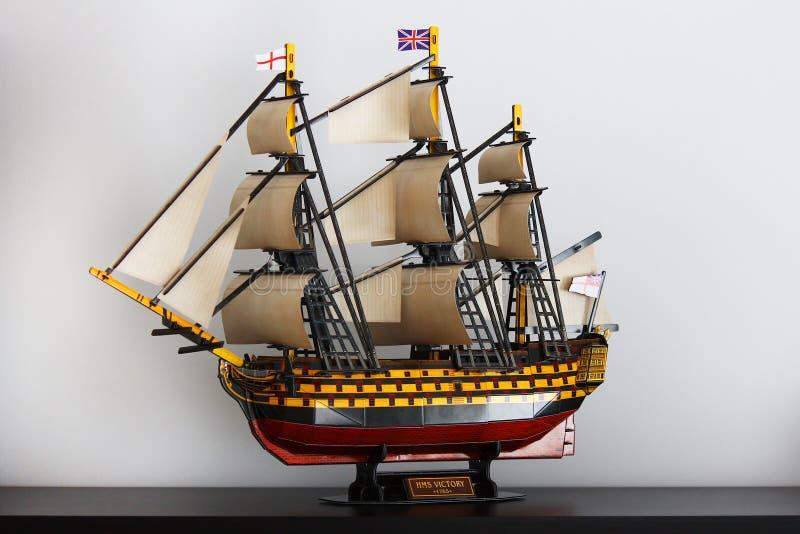 Old Royal Navy Ship cardboard model Victory. This is the cardboard model of HMS Victory, 104 gun ship of British Royal Navy, from XVII century royalty free stock photography