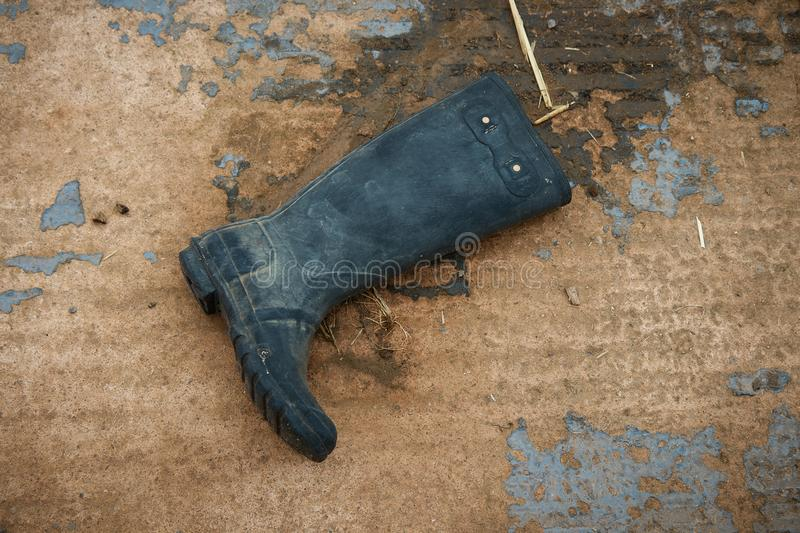 Old rubber boot . stock images