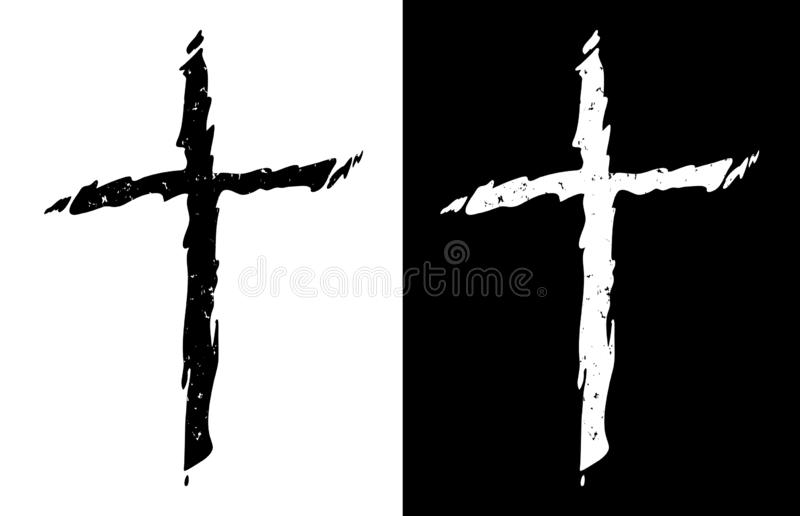 Old rugged distressed christian cross in both black and white isolated isolated vector illustration royalty free illustration