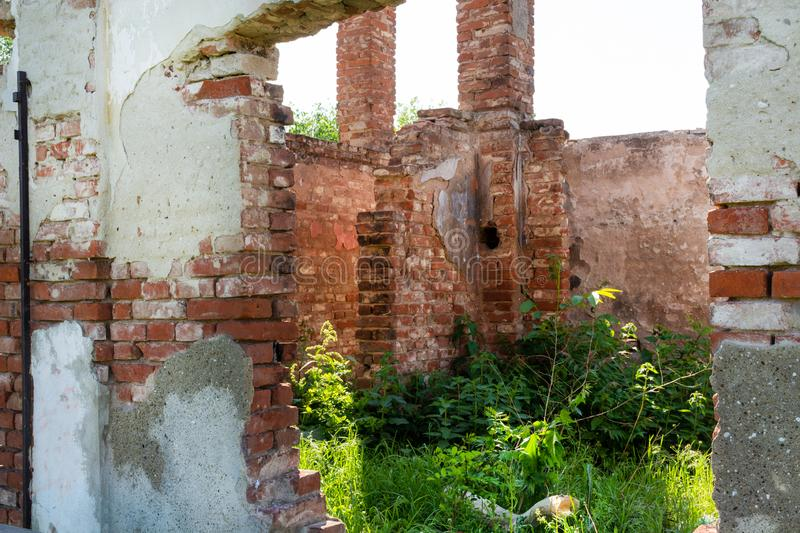 Old ruin walls in the house without roof and grass growing from the floor royalty free stock images