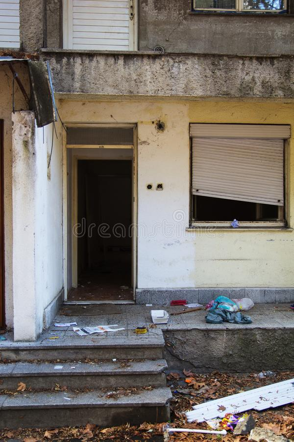 Old destroyed apartment royalty free stock images