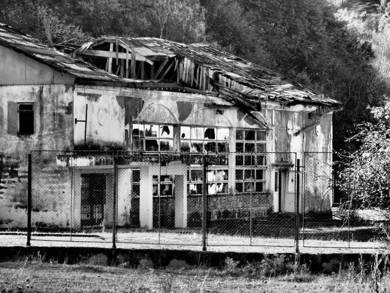 Ruined building on Doftana river valley stock image