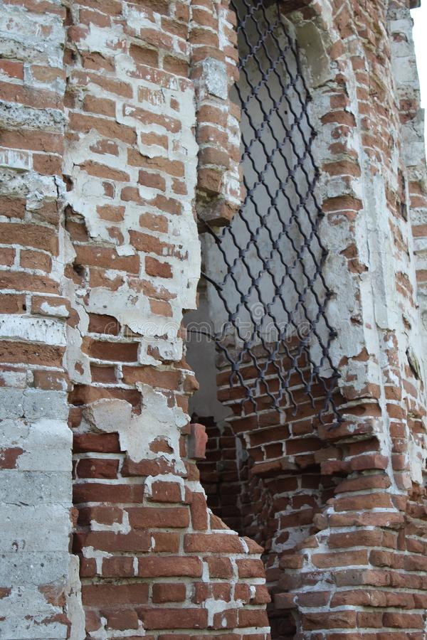 Old ruined building. Fragment of architecture. Brickwork royalty free stock photo