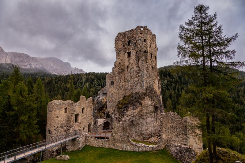 An old ruined castle in the Dolomites in Northern Italy stock images