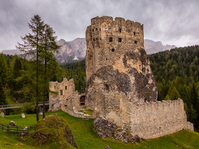 An old ruined castle in the Dolomites in Northern Italy royalty free stock images