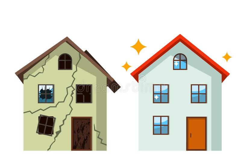 An old, ruined house in cracks with broken glasses and a renovated beautiful country cottage. concept before and after repair. royalty free illustration