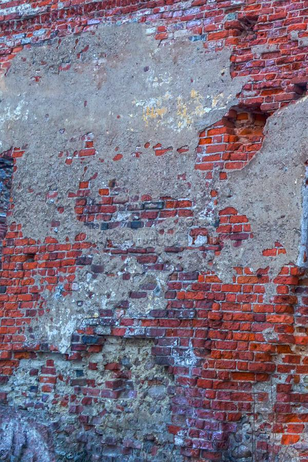 Free Old Ruined Wall Brick Shabby Weather-beaten Surface Part Of The Building Sloping Stones Background Urban Royalty Free Stock Image - 129440146