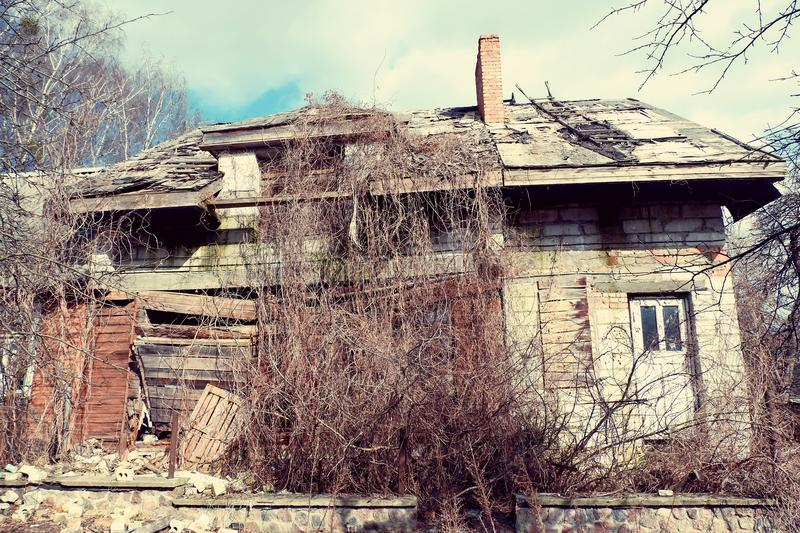 Ruined wooden house royalty free stock images