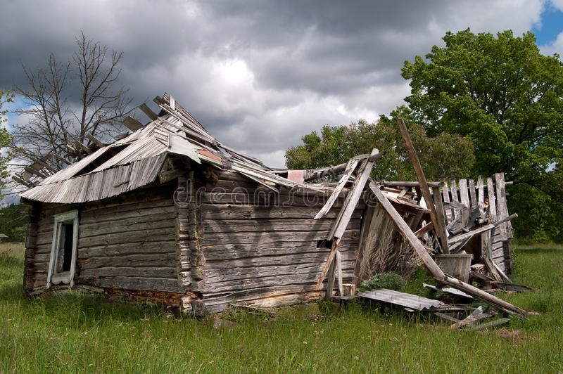 Old Ruined Wooden House Falling Down Stock Photos