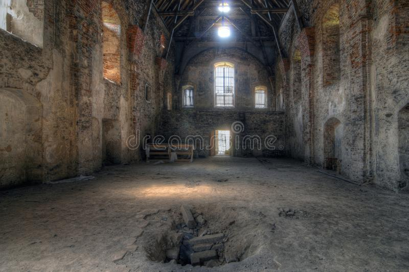 Old ruins of the abandoned church. Of the Annunciation of the Virgin Mary, Pivon, Czech Republic stock photos