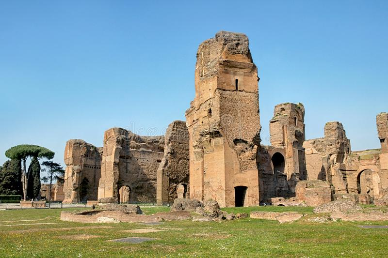 Old ruins at bath of caracalla. In rome stock image