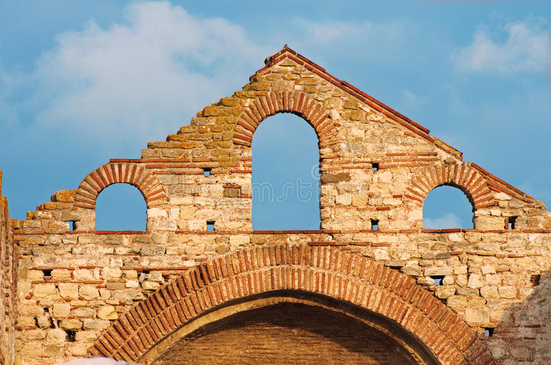 Old Ruins of a byzantine church detail. Old ruins of a Greek Church in Nessebar, Bulgaria stock photos