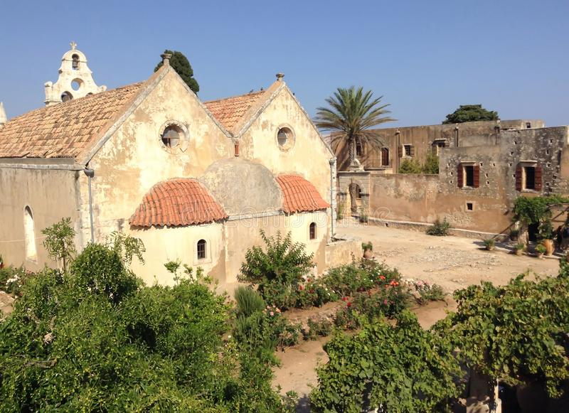 Old ruins of a church in Greece. With a garden royalty free stock images