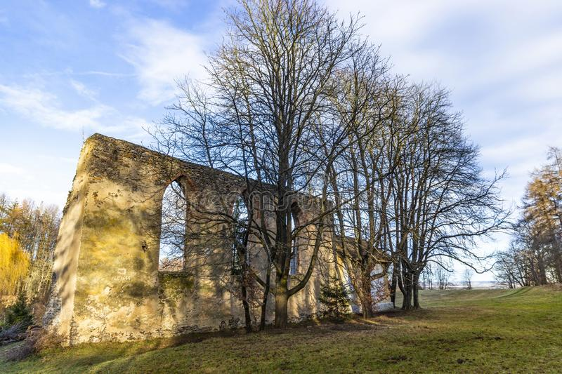 Old ruins of church St. Vitus in South Bohemia. Village Habri.  royalty free stock photo