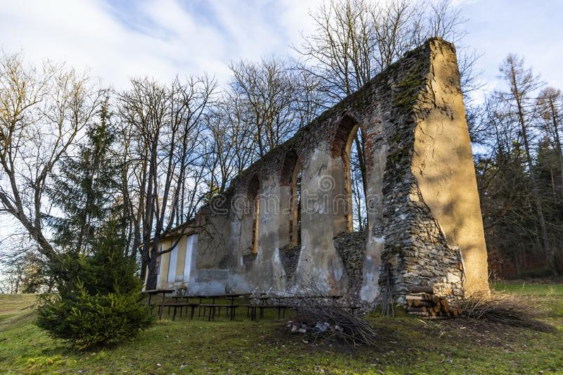 Old ruins of church St. Vitus in South Bohemia. Village Habri.  stock photos