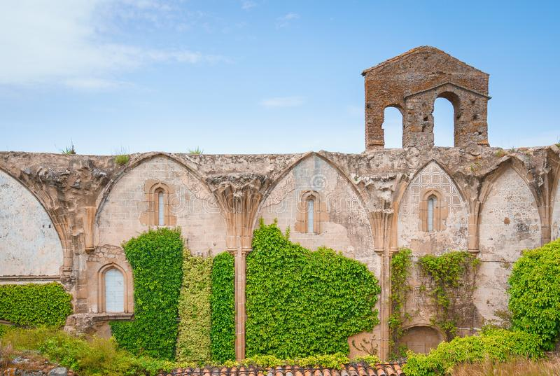 Old ruins of the Coria convent or San Francisco el Real de la Puerta de la Coria in Trujillo, Spain. Old ruins of the Coria convent or San Francisco el Real de stock photo
