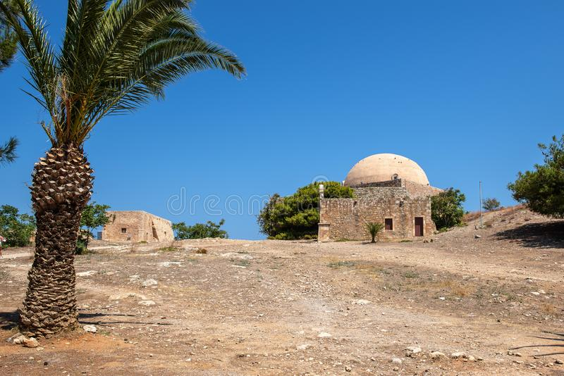 Old ruins of fortress, located at Rethymno town, Crete island, Greece.  royalty free stock photos
