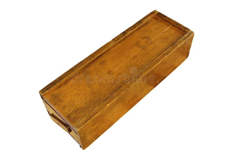 Old rummy wooden box on white background royalty free stock photos