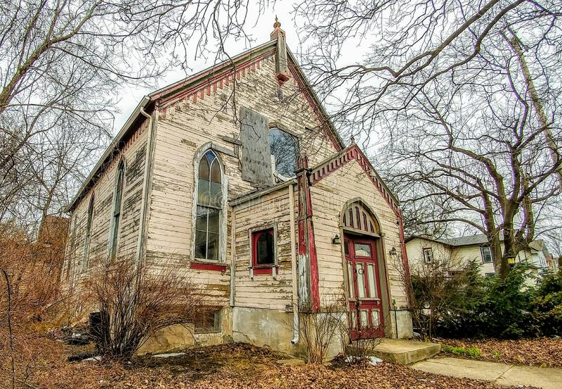 Old Run Down Vintage Church - Janesville, Wisconsin. An old, run down, weathered, vintage Pentacostal church located in Janesville, Wisconsin royalty free stock photos