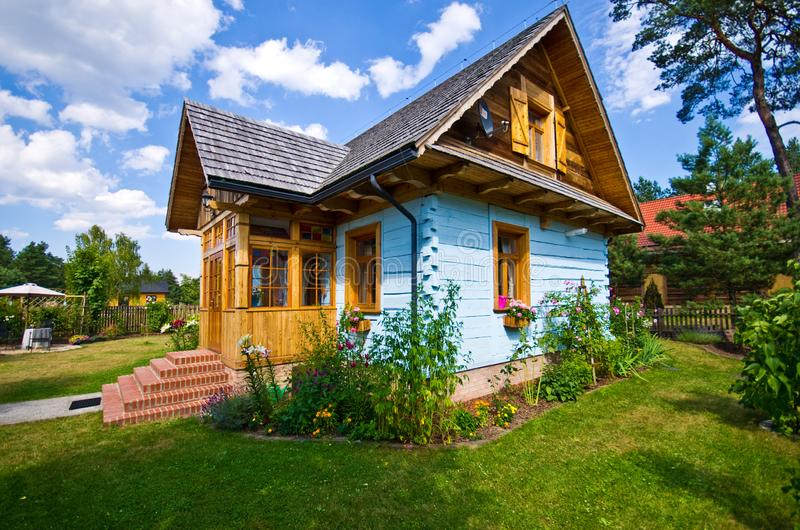 Wooden rural house in Poland, Roztocze region royalty free stock photography