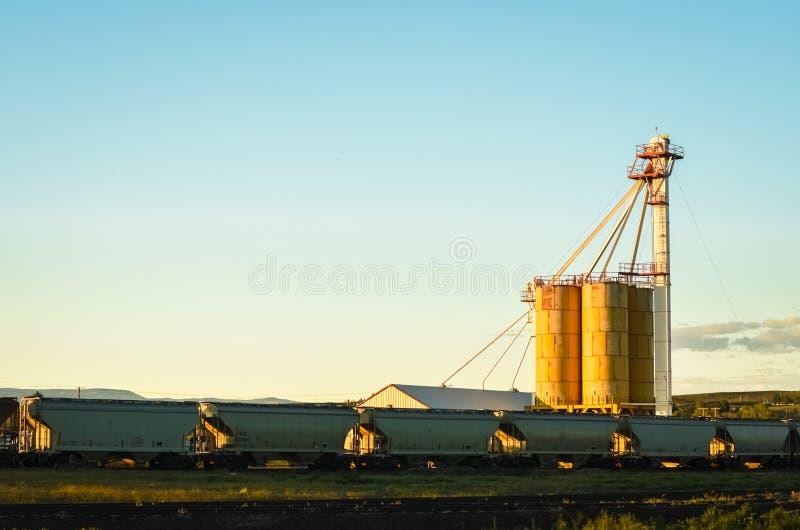 Old Rural Grain Elevator Loading Train royalty free stock photo