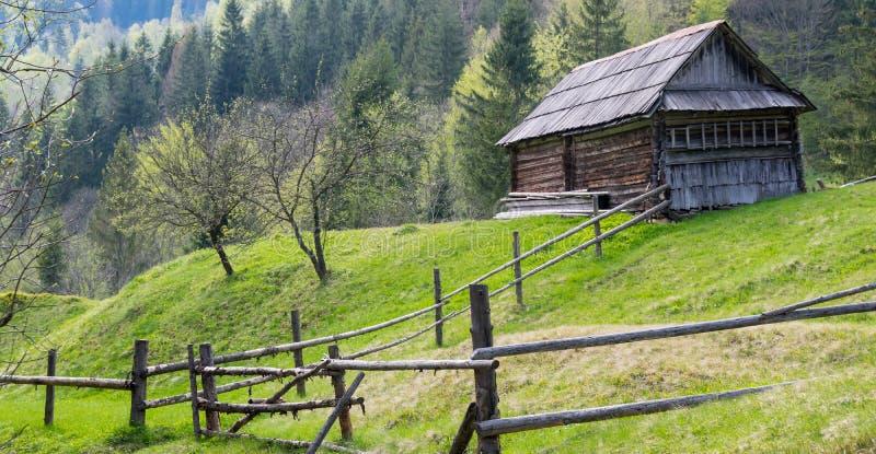 Old rural landscape farmhouse. stock photo