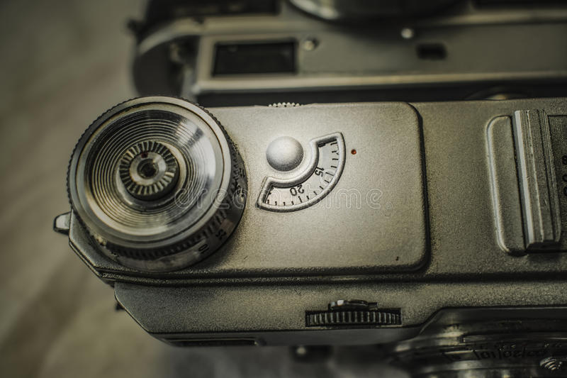 Old Russian analog film cameras with manual controls stock photo