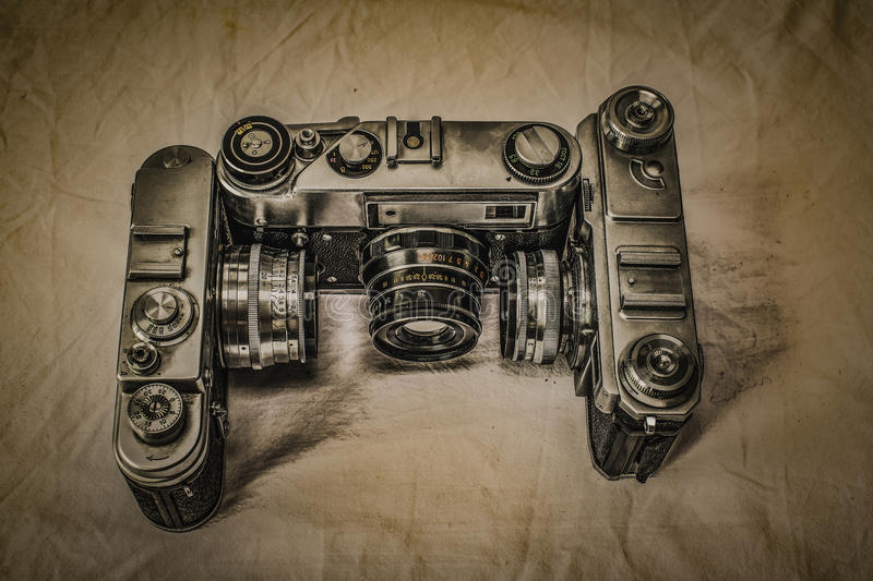 Old Russian analog film cameras with manual controls stock photography