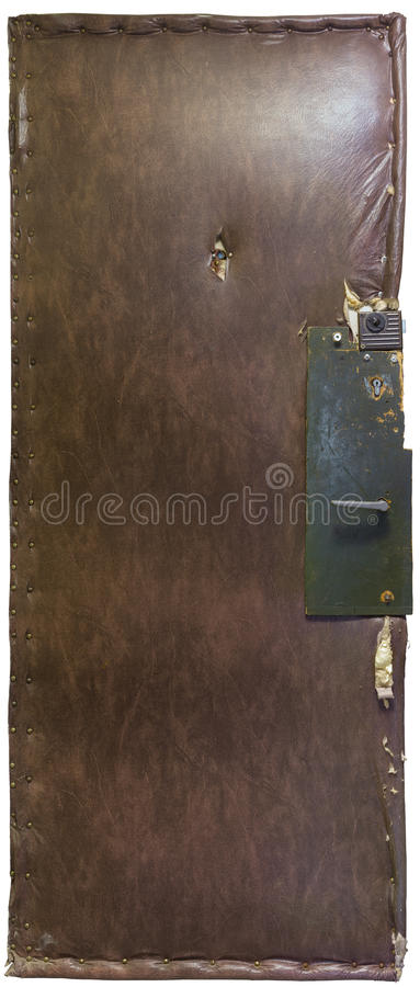 Old russian apartment door isolated on white background. Old russian cheap apartment door covered by leatherette, insulated with wadding and fixed with green stock photography