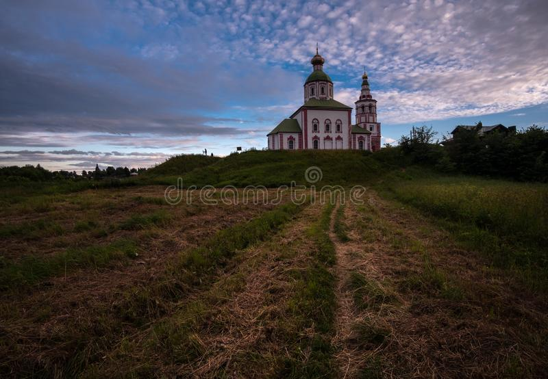 Old Russian architecture. The architecture of ancient Russia and the Russian province. Suzdal, Vladimir region. Old Russian architecture. The architecture of stock images