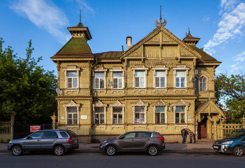 Old Russian architecture. Evening in the old town of Kostroma. Russian province. Russia. Old Russian architecture. Evening in the old town of Kostroma. Russian stock photo