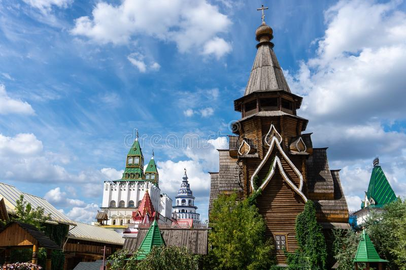 Old Russian architecture, orthodox wooden church in Moscow. Old Russian architecture, orthodox wooden church inside kremlin Izmailovo in Moscow stock photography