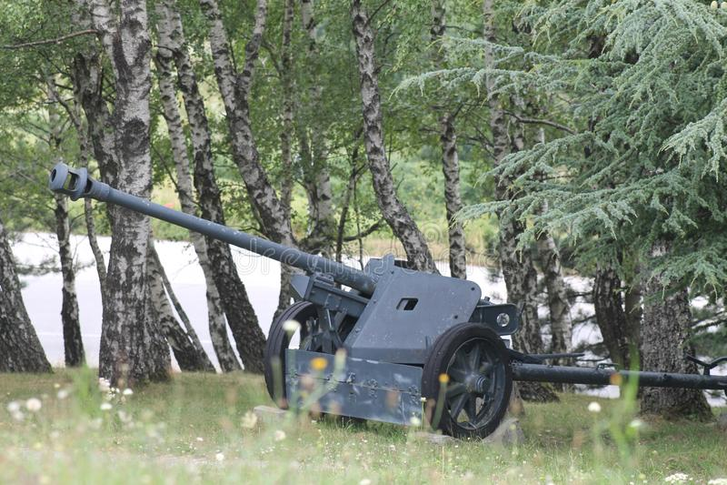 Old russian artillery cannon gun over white. stock photo