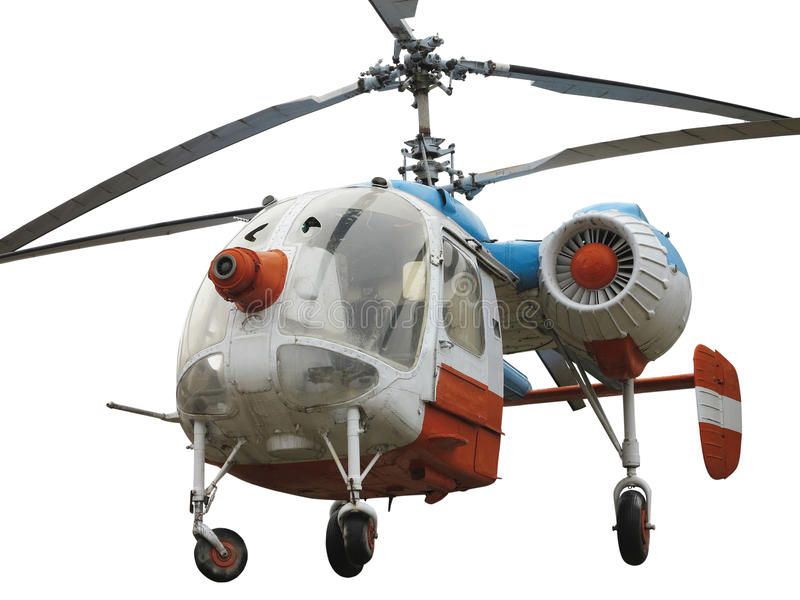 Old russian double rotor helicopter K-26 isolated over white. Background stock image