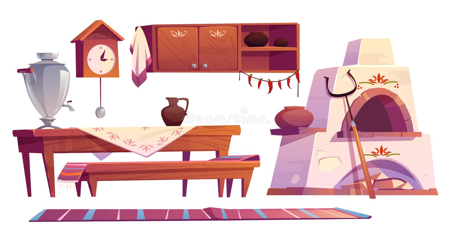 Old russian interior for kitchen traditional stove. Old russian interior for kitchen. Traditional stove, wooden table, bench, cuckoo-clock, samovar, grip, shelf stock illustration
