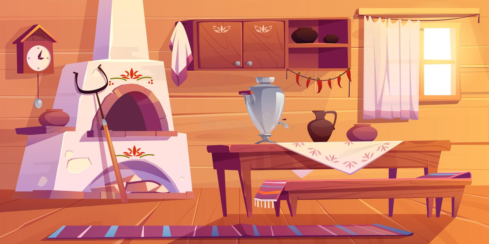 Old russian kitchen empty interior with stove. Old russian kitchen empty interior with traditional stove, wooden table, bench, cuckoo-clock, samovar, grip, shelf royalty free illustration