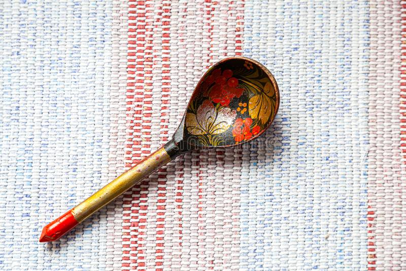 Old Russian traditional wooden spoon stock photography
